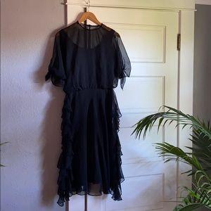 Stevie Nicks inspired Black Ruffle 70s midi dress